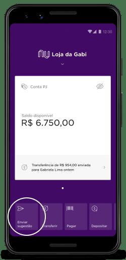 Enviar feedback: imagem mostra a tela do app Nubank com a nova opção de enviar sugestão no canto inferior esquerdo