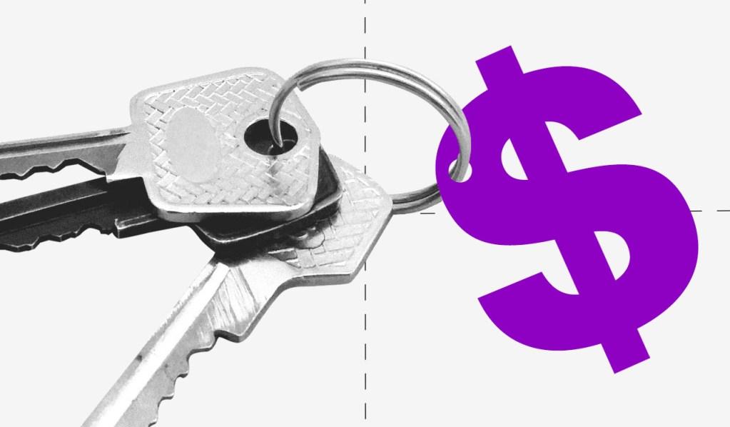 Culpa de gastar: cifrão roxo preso a um molho de chaves.
