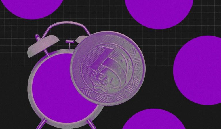 Ilustração de relógio despertador e uma moeda de um Real