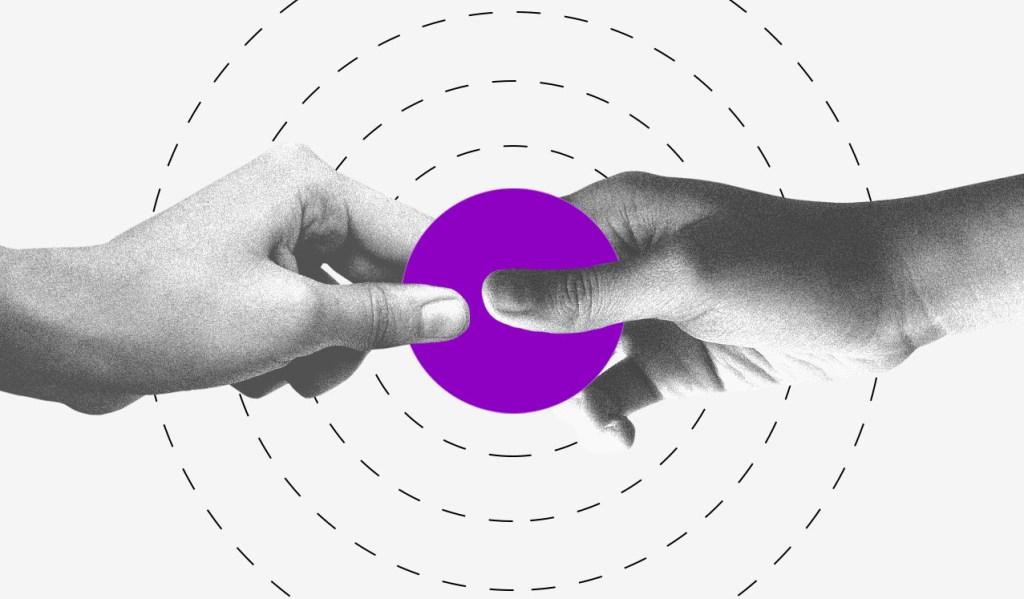 duas mãos seguram um círculo roxo como se estivessem prestes a parti-lo. Em volta do círculo roxo há vários círculos em linha pontilhada.