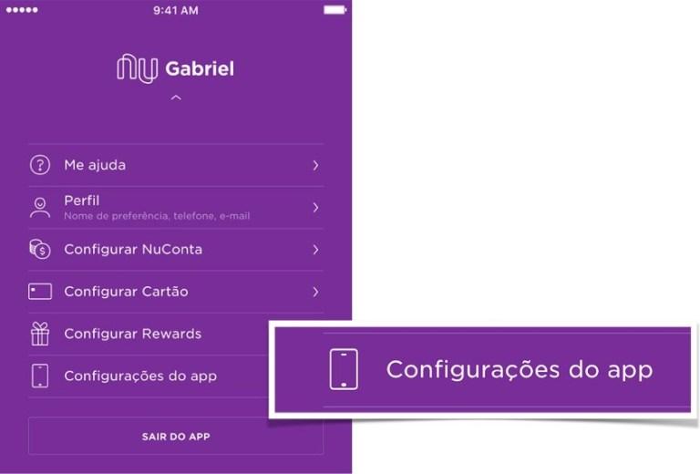 """Segurança Nubank: tela do menu com o botão """"Configurações do app"""""""