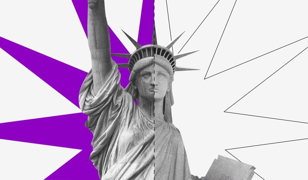 Dólar: estátua da liberdade com um traço no meio