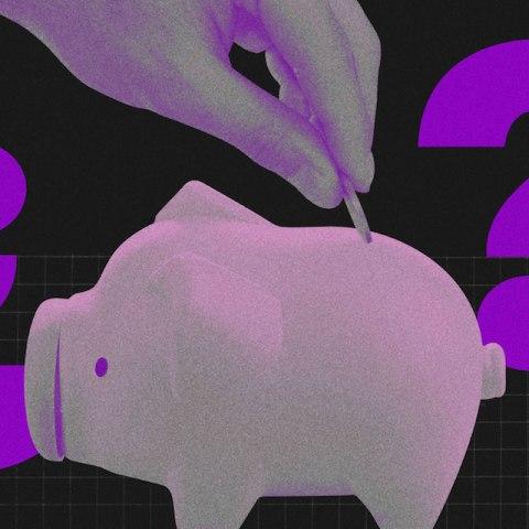 Juntar dinheiro e ciência: ilustração mostra mão colocando moeda em cofre de porquinho