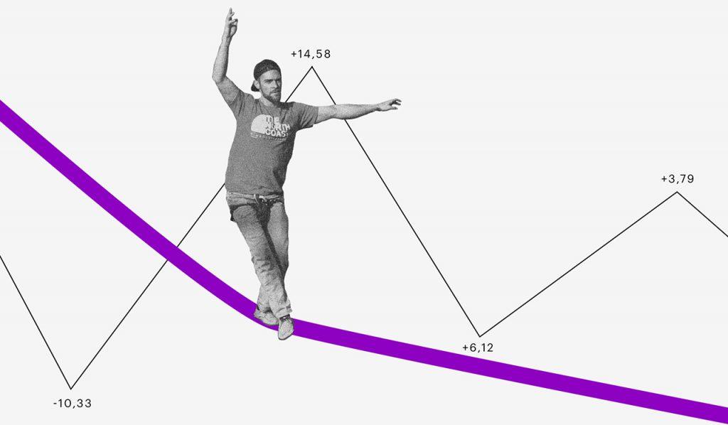 Perfil de investidor: homem se equilibrando em uma corda bamba e uma linha de gráfico subindo e descendo