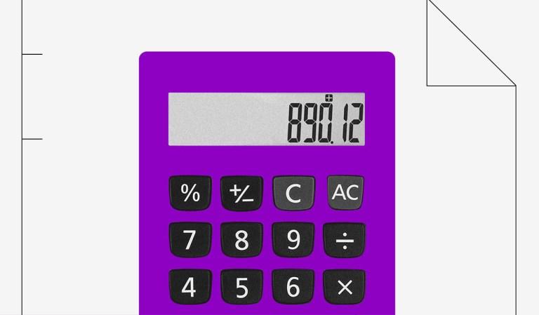 Imagem deuma calculadora roxa com o número 890.12 escrito