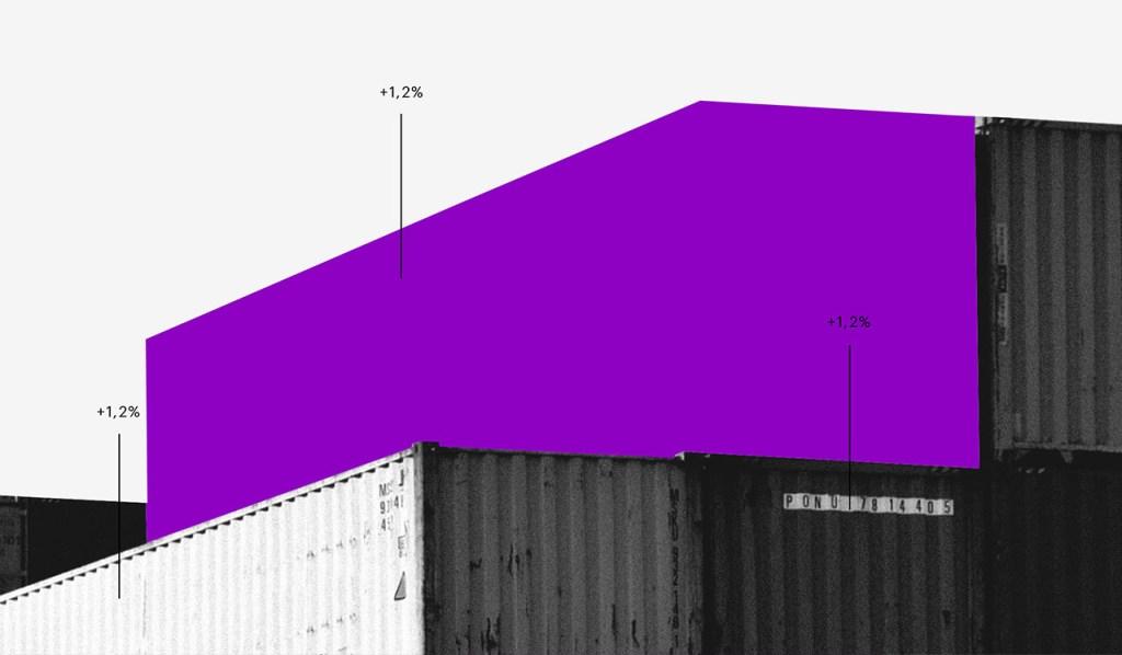 Dividendos: colagem de containers preto e branco, sendo um deles roxo.