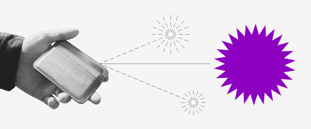 Empréstimo consignado: uma mão segurando uma carteira de onde saem duas setas pontilhadas, cada uma com um pequeno fogo de artifício no fim. Do meio sai uma seta com um fogo de artifício roxo