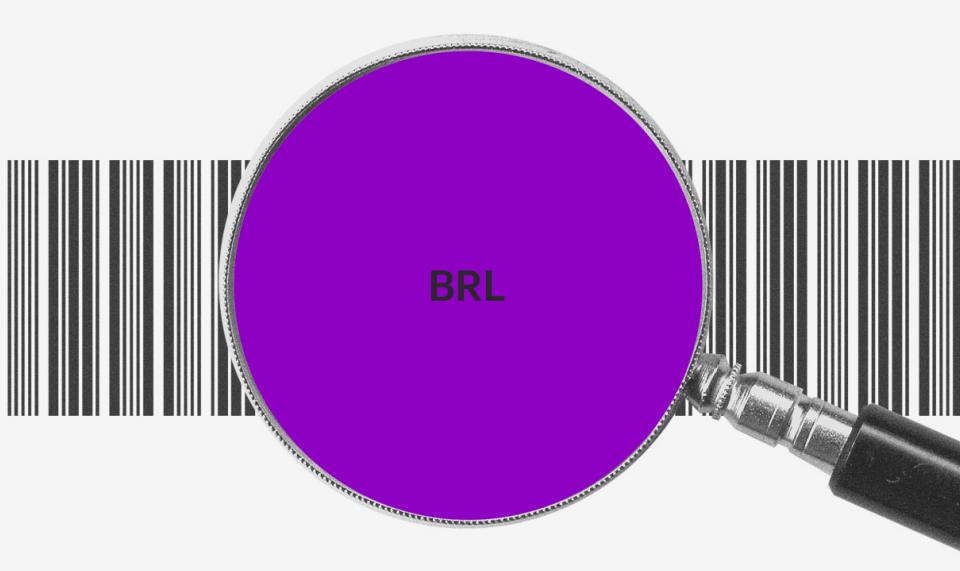 Como saber se um boleto é falso: Uma lupa roxa, com as letras BRL no centro, com um código de barras atrás
