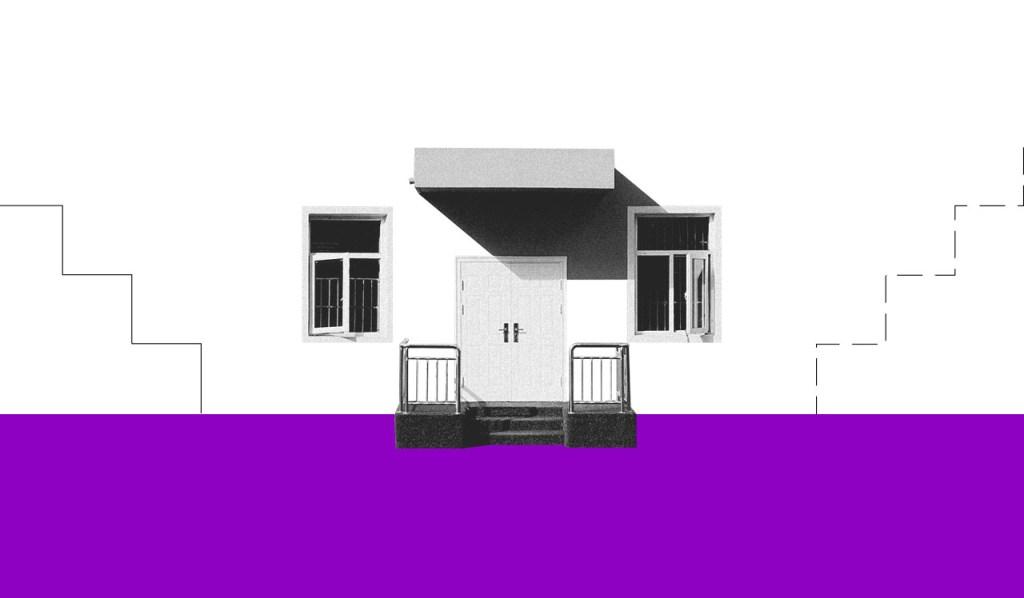 O que é streaming: uma foto preta e branca da frente de uma casa, com uma porta no centro e duas janelas uma de cada lado