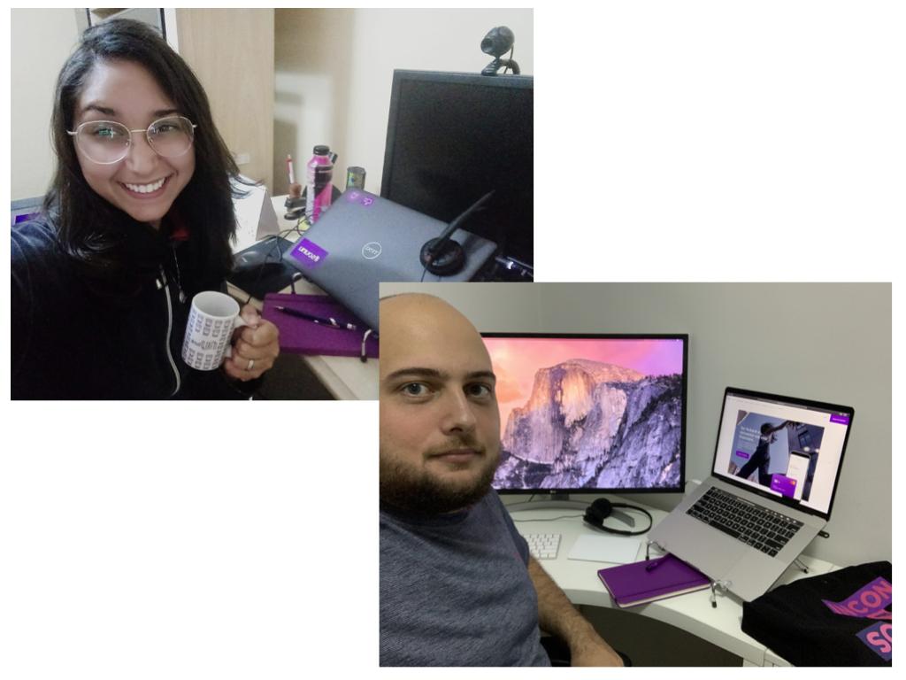 Onboarding remoto: selfie de uma nuvinha e de um nuvinho em seus escritórios de casa