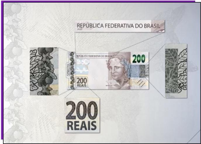 Detalhe da nota de 200 reais que mostra os elementos que estão em alto-relevo