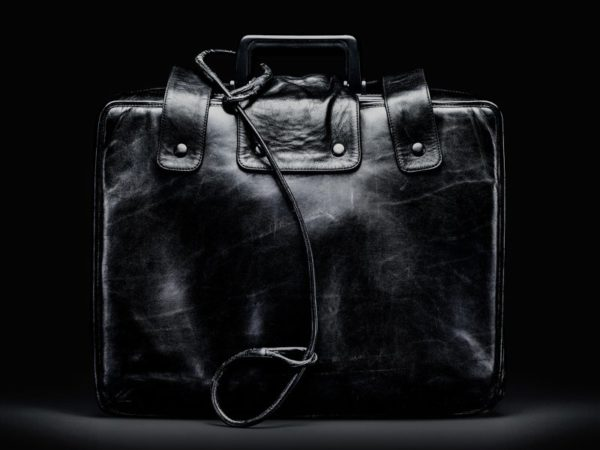 "A retired ""nuclear football"" suitcase, from which the President can authorize a nuclear attack. Photo credit: Smithsonian Institute/Jamie Chung, via Wikimedia Commons."