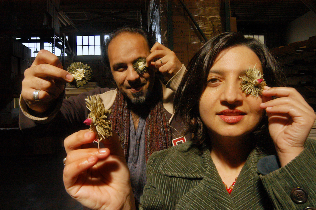 Ahmed Rahim and Reem Hassani with flowering tea