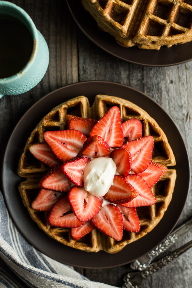 Strawberries and Cream Oat Flour Waffles | Healthy Nibbles & Bits