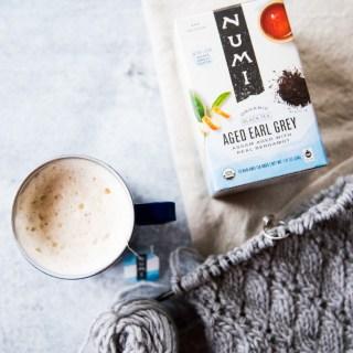 Numi organic Aged Earl Grey tea made into a london fog latte