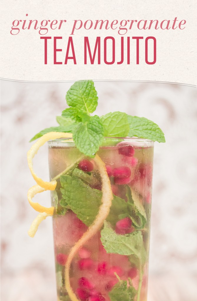 Cooling bamboo tea with lemongrass and spearmint is the perfect base to this fun twist on the classic mojito featuring ginger beer and fresh pomegranate.