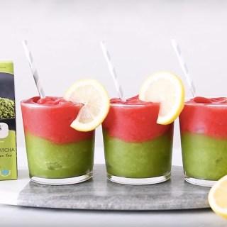 Strawberry Matcha Lemonade Slushie [VIDEO]