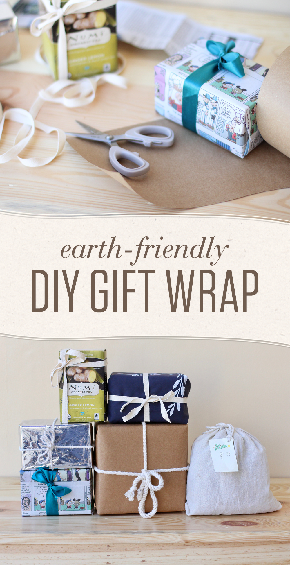 Five eco-friendly gift wrap ideas to make your holidays greener and reduce the amount of single use, plastic-coated materials that end up in landfills.