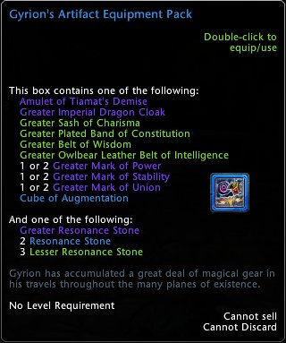 Gyrion's Artifact Equipment Pack