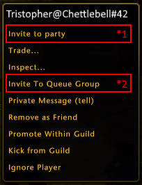 Neverwinter - Player context menu for Queue and Party invite