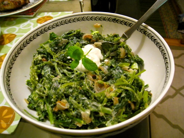 Spinach with cipollini and sheep's milk yogurt