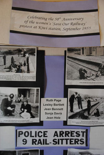 Copies of old newspaper stories document the actions of local women protesting at the 1955 closure of Kiwi Railway Station