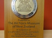 Earthquake Award for Service, presented 22 February 2012. Photo courtesy of Air Force Museum.