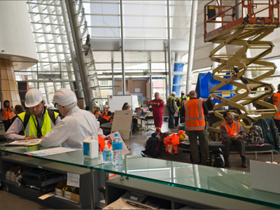 Christchurch Art Gallery foyer as Emergency Operations Headquarters, 2011. Image courtesy of Christchurch Art Gallery.