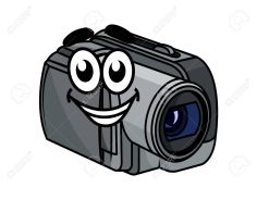 video camera with cartoon face
