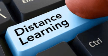 button that says Distance Learning