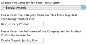 Screen shot of how to vote – category 3