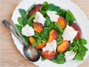 Grilled Peach, Rocket and Buffalo Mozzarella Salad recipe