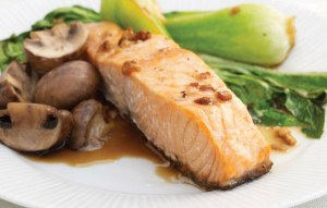 salmon mushrooms pak choi