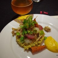 Rabbit with carrot puree, pearled barley risotto and veggies paired with Tripel Point