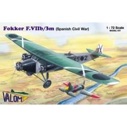 Valom - Set avión Fokker F.VIIb/3m ( Spanish Bomber ). Escala 1:72, Ref: 72054.