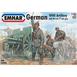 Emhar - Figuras de Artillería Alemana WWI. kit de plástico listo para ensamblar y decorar. Escala 1:35, Ref: EM3504.