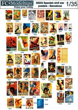 Calcas Spanish civil war posters, Barcelona. Escala 1:35. Marca Fcmodeltips. Ref: 35233.