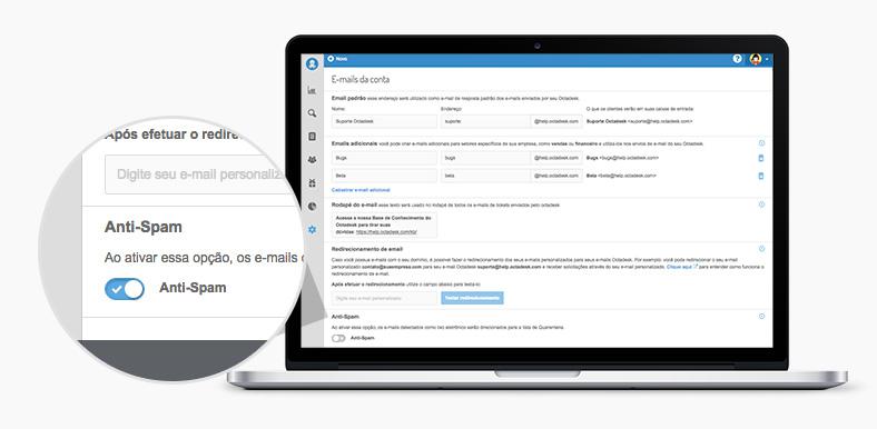 Anti-Spam sistema de atendimento ao cliente octadesk configuração