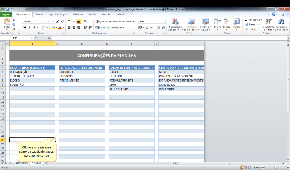 tela de configurações da planilha de controle de chamados