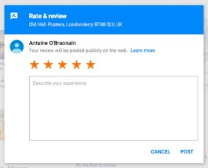 Screenshot of 5 star Google review