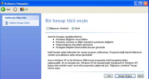 ebeveyn denetimi windows xp
