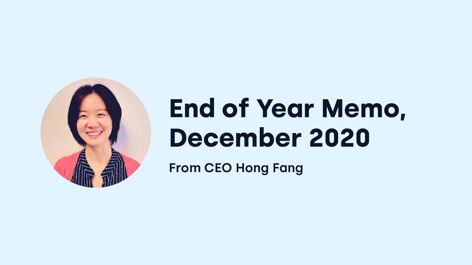 OKCoin CEO Hong Fang End of Year Memo 2020