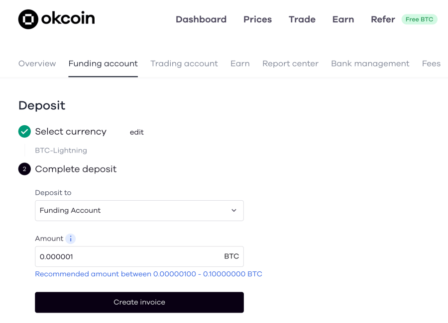 Select an account to deposit your BTC.