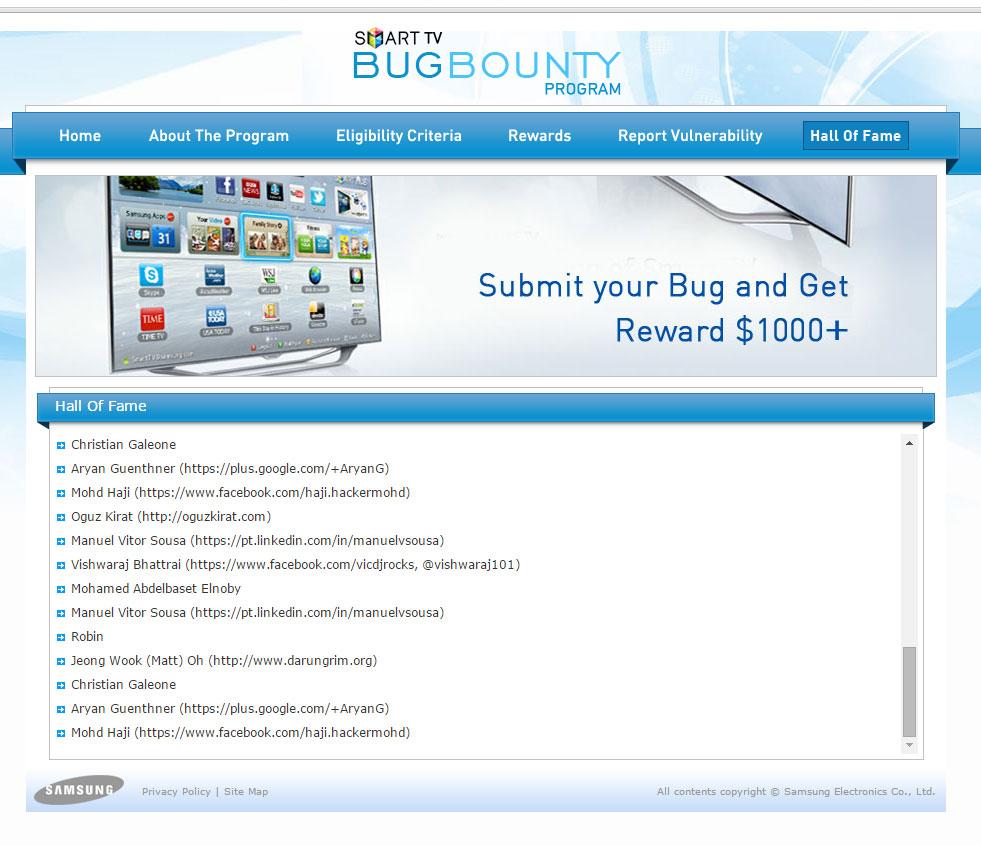 I'm On Samsung's Smart TV Bug Bounty Hall Of Fame List