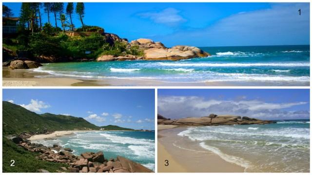 1- Praia da Joaquina 2- Praia da Galheta 3- Praia Mole