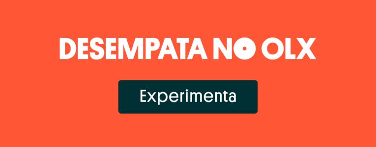 Banner com mensagem desempata no OLX e botão para o site.