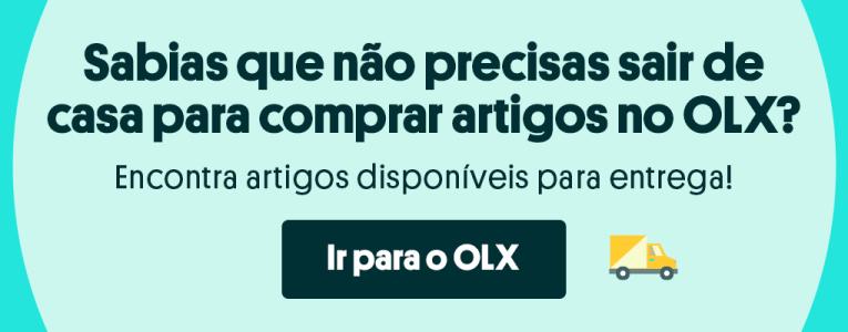 Banner sobre as entregas do OLX e botão para ir para o site do OLX.