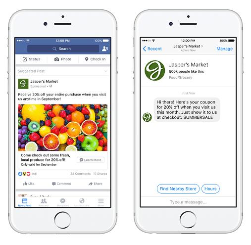FB 廣告貼文附帶私訊按鈕,透過訊息內容說服客戶下單