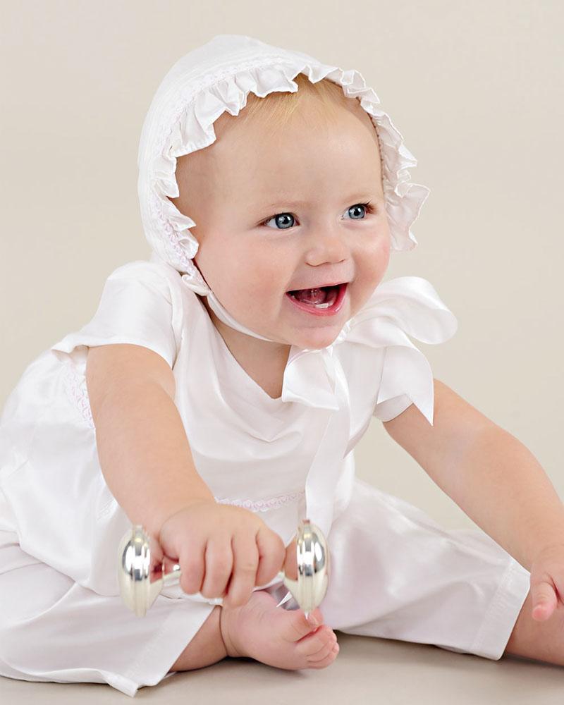 Phoebe after christening romper