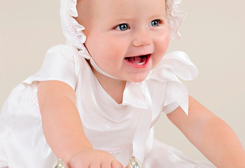 Phoebe after christening romper